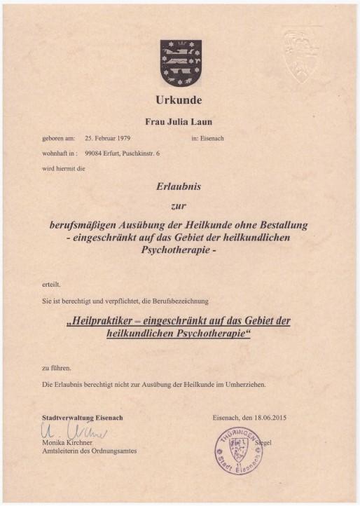 HP Psych Urkunde